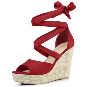 Red Lace up Wedges